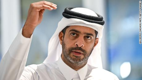 Nasser Al Khater, chief executive of the FIFA World Cup Qatar 2022 organisation, gives a press conference at Al-Janoub Stadium in the capital Doha on September 25, 2019.