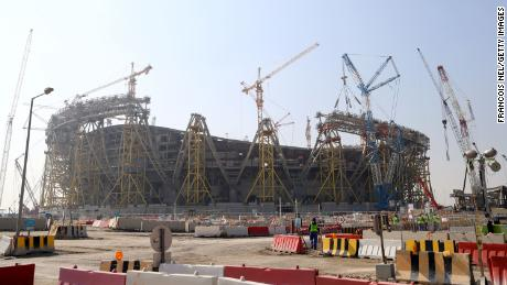 Construction takes places at Lusail Stadium on December 20, 2019 in Doha.
