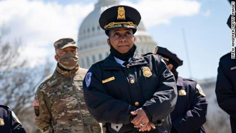 Acting Capitol Police Chief Yogananda Pittman attends a press briefing about the security incident at the U.S. Capitol on April 2, 2021 in Washington, DC.