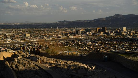 An aerial view of El Paso, Texas, just north of the US-Mexico border, on June 24.