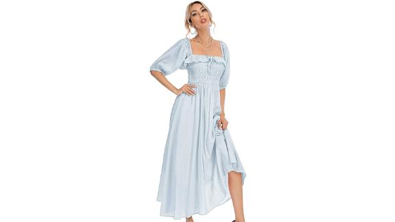 R. Vivimos Half-Sleeve Cotton Flowy Long Dress