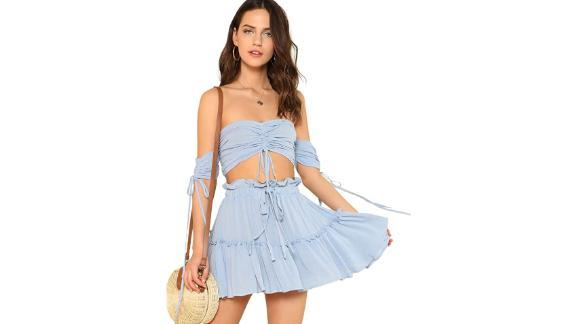 Floerns Two-Piece Crop Top and Skirt Set