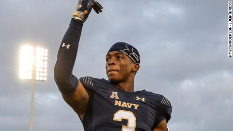 September 15, 2018 - Cameron Kinley greats the crowd before singing the Blue and Gold following the game held at Navy-Marine Crops Memorial Stadium in Annapolis, Maryland.