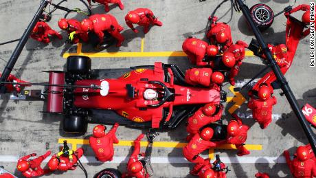 Leclerc makes a pitstop during the Styrian Grand Prix.