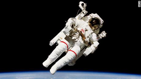 Mission specialist Bruce McCandless II does a historic spacewalk a few meters away from the cabin of the Earth-orbiting Challenger on February 7, 1984.  - 210708113721 01 nasa space shuttle moments scn large 169 - NASA's Space Shuttle Program: 8 pivotal moments