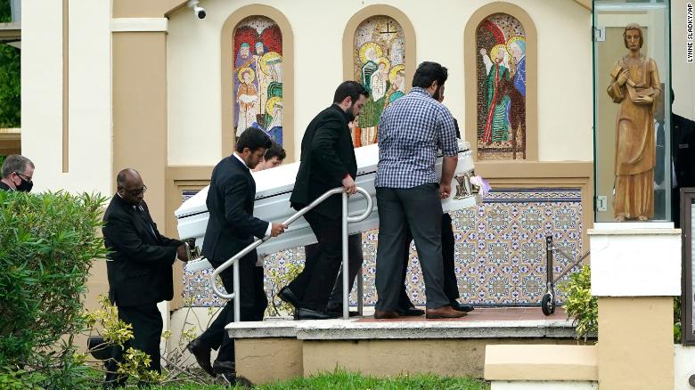 Two of the youngest victims of the Surfside collapse shared a casket, priest says