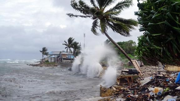 More than 200 people fled their homes in Majuro, the capital city of the Marshall Islands, during a tropical storm in 2019.