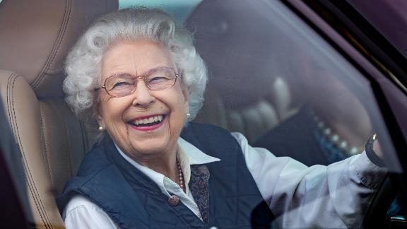 The Queen drives her Range Rover as she attends the Royal Windsor Horse Show in Windsor, England, in July 2021.