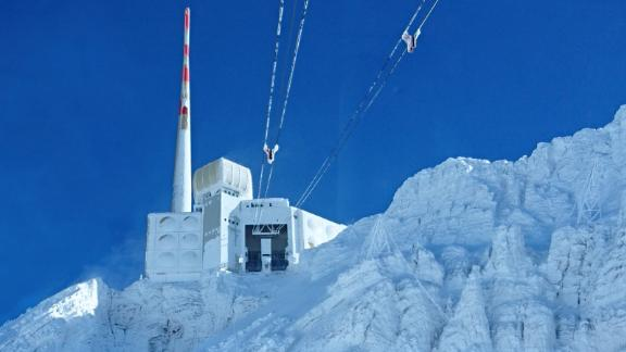 The laser has been taken to a radio transmission tower at the summit of Säntis, in the Swiss alps.