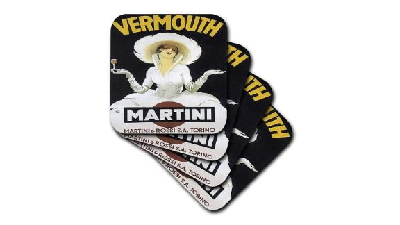 Vintage Martini & Rossi Advertising Poster Soft Coasters, Set of 8