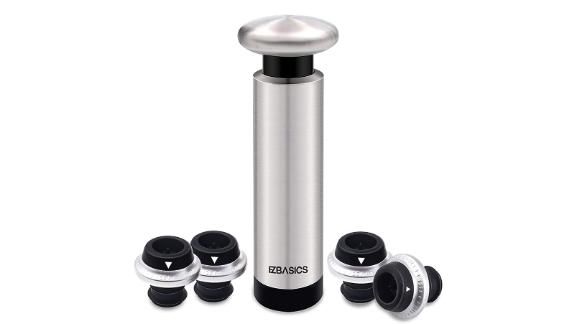 EZBasics Wine Saver Pump With Vacuum Bottle Stoppers
