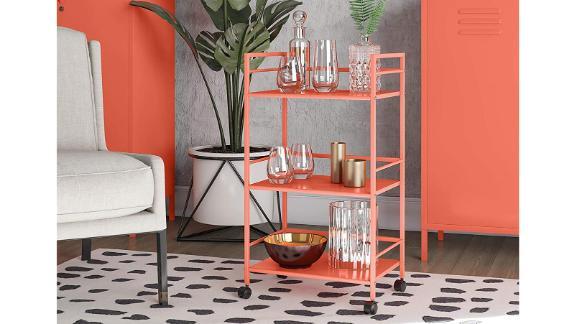 Novogratz Cache Metal, Orange Rolling Cart