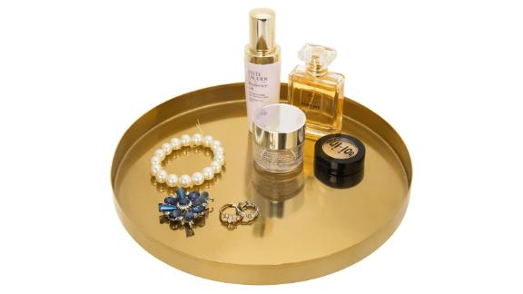 MyGift Brass Plated Metal Round Serving Tray