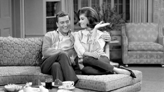 Dick Van Dyke (as Rob Petrie) and actress Mary Tyler Moore (as Laura Petrie) in '