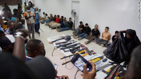 Haiti's police chief described the men presented at the press conference as attackers that have been apprehended.