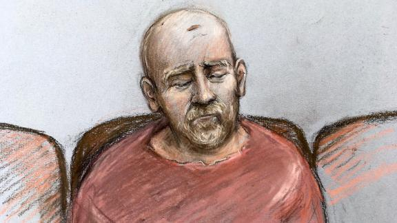 A court artist sketch shows Wayne Couzens making his first appearance at the Old Bailey by video link in March 2021 from Belmarsh top security prison in south London.