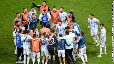 Lionel Messi led the celebrations after Argentina reached the Copa America final.