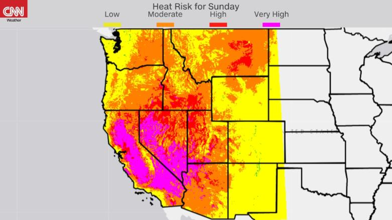 Very high heat risk in much of the Southwest from NOAA NWS