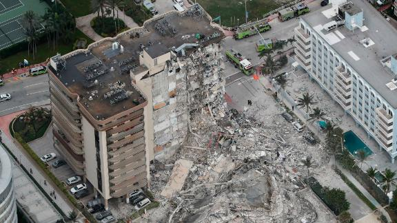 This aerial photo shows part of the oceanfront condo that collapsed early on June 24.