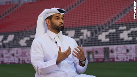 Hassan Al Thawadi, Secretary General, Supreme Committee for Delivery & Legacy, speaks during an interview in the Al Bayt Stadium in Doha on June 8.