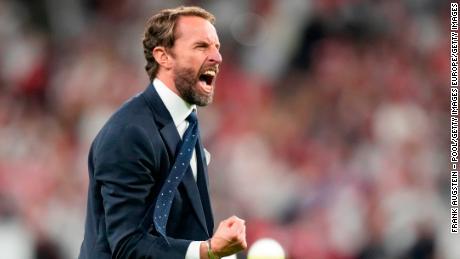 Gareth Southgate celebrates his team's victory over Denmark at Wembley Stadium.