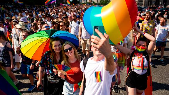 An Equality Parade marched through Warsaw on June 19 -- after being canceled in 2020 due to Covid restrictions.