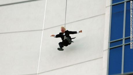 Founder of the Virgin Group Richard Branson stunts off The Palms Fantasy Tower at The Palms Casino Resort on October 10, 2007 in Las Vegas, Nevada.