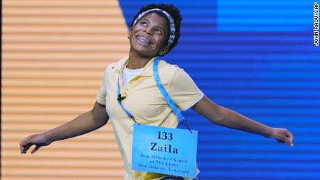 Zaila Avant-garde, 14, from Harvey, Louisiana celebrates after winning the finals of the 2021 Scripps National Spelling Bee at Disney World Thursday, July 8, 2021, in Lake Buena Vista, Fla.