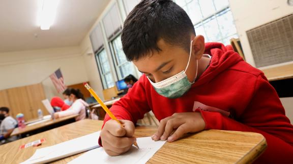 Arnold Madris, age 9, is one of the students in Dorene Scala's third-grade summer school class at Hooper Avenue School on June 23, 2021.