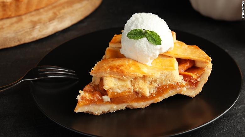 Finish off your meal with peach pie and ice cream.