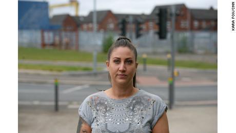 Loyalist Emma Shaw, in east Belfast's CS Lewis Square.