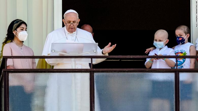 Pope Francis delivers prayer from hospital window in his first public appearance after surgery