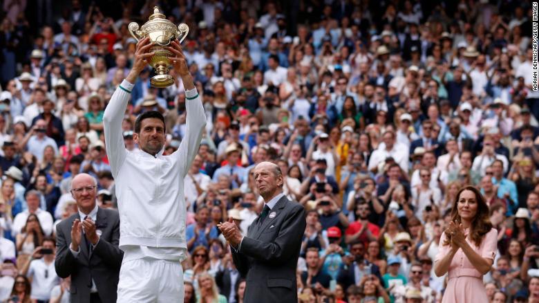 Novak Djokovic wins record-equaling 20th grand slam title after beating Matteo Berrettini in Wimbledon final