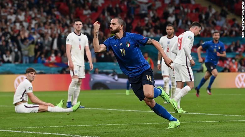 Leonardo Bonucci celebrates after scoring Italy's equalizer.