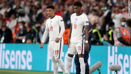 England's Jadon Sancho and Marcus Rashford get ready to come onto the pitch during the Euro 2020 final between England and Italy.
