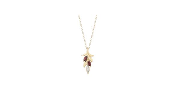 Enchanted Disney Anna Marquise Rhodolite and Diamond Accent Wheat Pendant