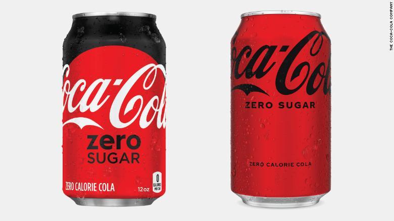 The old version of Coca-Cola Zero Sugar, left, compared to the new.
