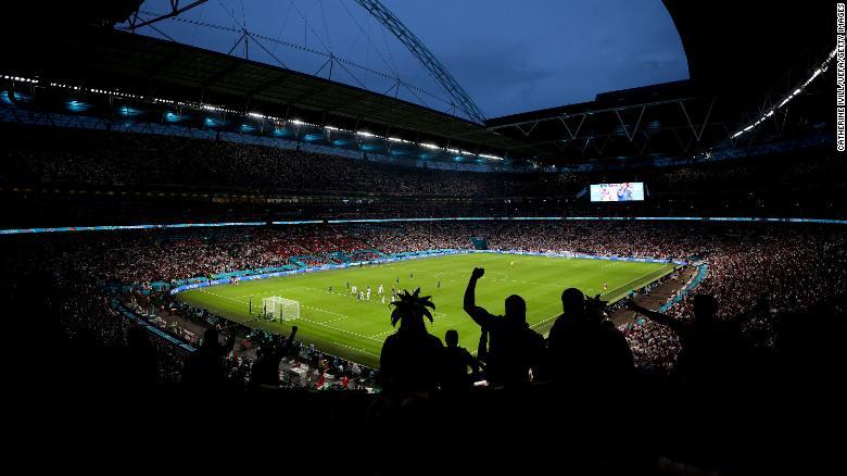 Pemandangan umum di dalam Stadion Wembley selama Final UEFA Euro 2020