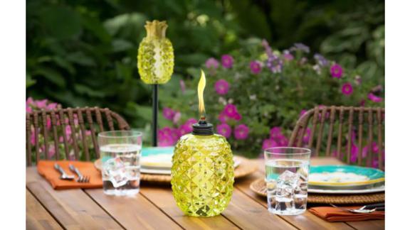 Tiki Aloha Pineapple Glass Torch, Set of 2