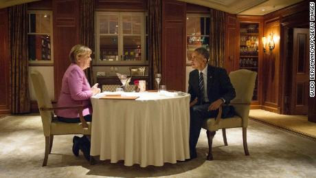 The private dinner in Berlin in the wake of Trump's shock election win in November 2016 at which Obama urged Merkel to run again so she could save the global liberal order.