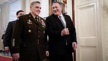 Chairman of the Joint Chiefs of Staff Gen. Mark Milley and US Secretary of State Mike Pompeo arrive for a Presidential Medal of Freedom ceremony for retired four-star Army general Jack Keane in the East Room of the White House March 10, 2020 in Washington, DC.