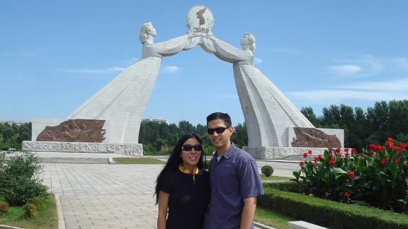 Cheng and Carlson on their return trip to North Korea in 2008.