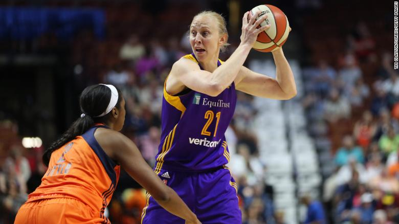 UNCASVILLE, CONNECTICUT- MAY 26:  Ann Wauters #21 of the Los Angeles Sparks in action during the Los Angeles Sparks Vs Connecticut Sun, WNBA regular season game at Mohegan Sun Arena on May 26, 2016 in Uncasville, Connecticut. (Photo by Tim Clayton/Corbis via Getty Images)
