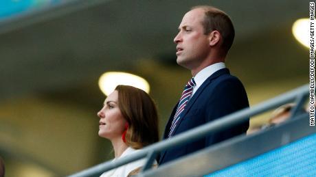 Уильям и Кейт на Уэмбли во время финала Евро-2020