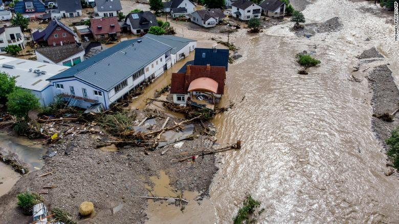 Houses are damaged by flooding in Insul, Germany, on Thursday, July 15. The Ahr river burst its banks the night before.