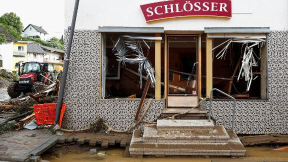 A destroyed building is seen in a flood-affected area of Schuld, Germany.