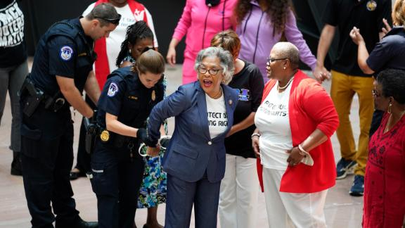 Rep. Joyce Beatty, D-Ohio, chair of the Congressional Black Caucus, and other activists lead a peaceful demonstration to advocate for voting rights, in the Hart Senate Office Bldg., on Capitol Hill in Washington, Thursday, July 15, 2021. The protesters were arrested by U.S. Capitol Police for demonstrating inside the building.