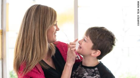 Amber Briggle and her son, Max, share a laugh.