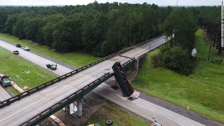 Georgia interstate is shut down after a truck crashed into a bridge, shifting it by 6 feet