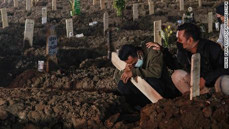 Relatives wearing face masks mourn a coronavirus victim at Rorotan public cemetery in Jakarta.